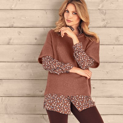 Pull poncho manches coudes Moka: Vue 1