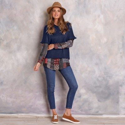 Pull poncho manches coudes Marine: Vue 1