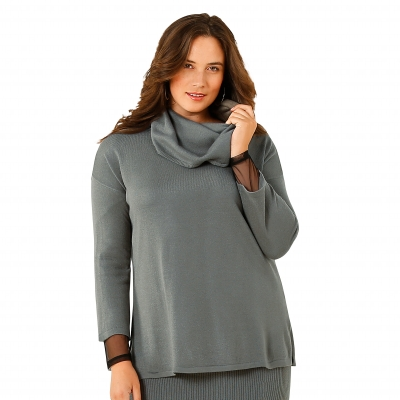 Pull col toucher cachemire Anthracite: Vue 1
