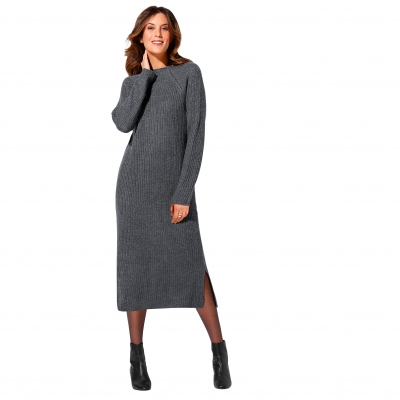 Robe pull col montant Gris chiné: Vue 1