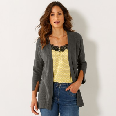 Gilet maille anglaise manches 3/4 fendues Bronze: Vue 1