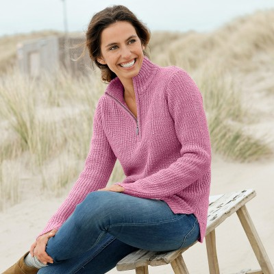 Pull col montant maille anglaise 30% laine Rose chiné: Vue 1