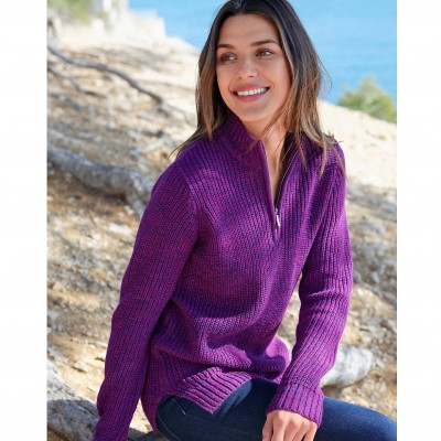 Pull col montant maille anglaise 30% laine Violine chiné: Vue 1