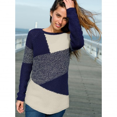 Pull maille anglaise jacquard col rond
