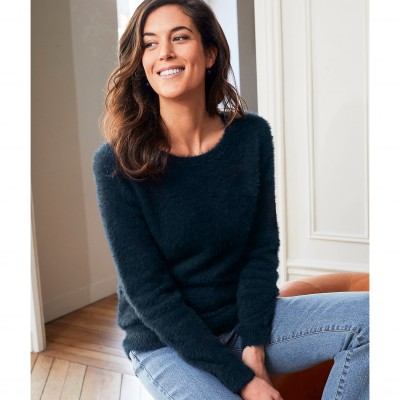 Pull col rond maille douceur Marine: Vue 1
