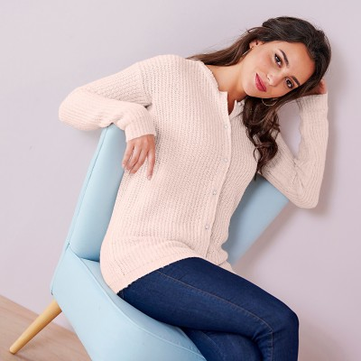 Cardigan boutons perles toucher mohair Nude: Vue 1