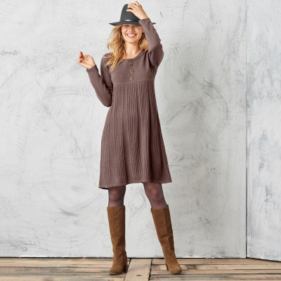 Robe pull boutonnée Taupe: Vue 1