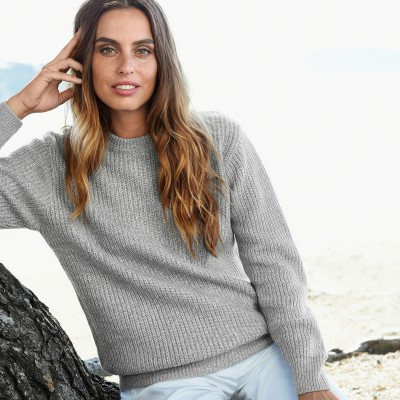 Pull col rond maille anglaise Gris chiné: Vue 1
