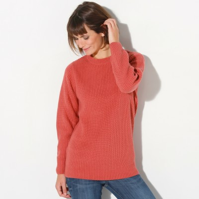 Pull col rond maille anglaise Terracotta: Vue 1