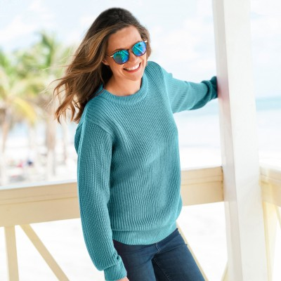 Pull col rond maille anglaise Céladon: Vue 1