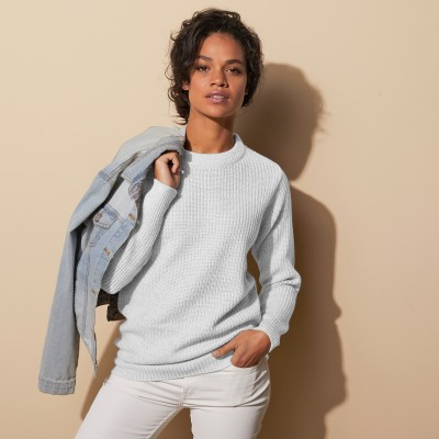 Pull col rond maille anglaise Blanc cassé: Vue 1