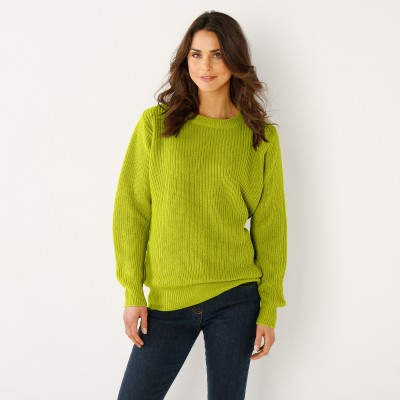 Pull col rond maille anglaise Vert mousse: Vue 1