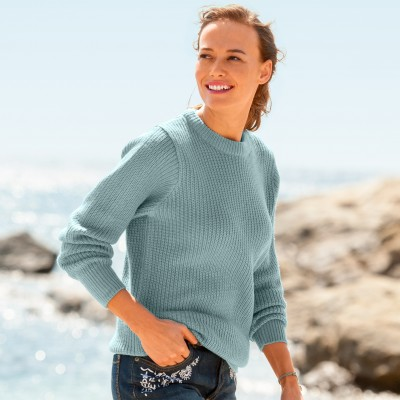 Pull col rond maille anglaise Vert grisé: Vue 1