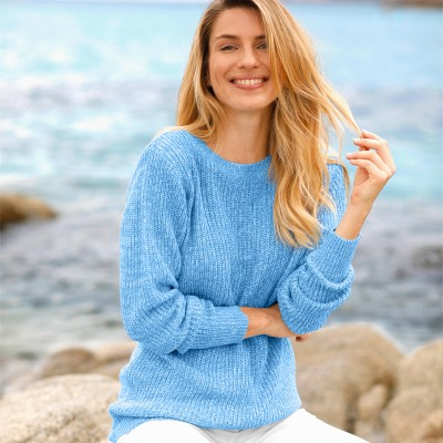 Pull col rond maille anglaise Bleu chiné: Vue 1
