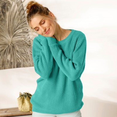 Pull col rond maille anglaise Vert: Vue 1