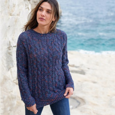 Pull col bateau maille bouclette Marine: Vue 1