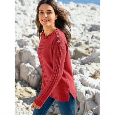 Pull femme col rond maille fantaisie Paprika: Vue 1