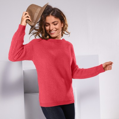 Pull col rond maille chenille Rouge grisé: Vue 1