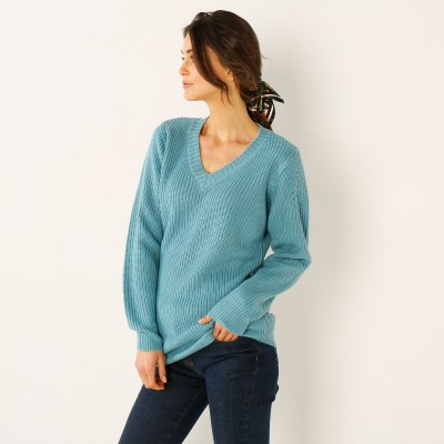 Pull col V maille anglaise Céladon: Vue 1