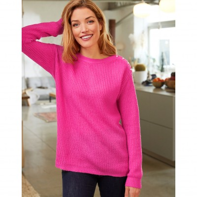 Pull col rond maille anglaise toucher mohair Rose: Vue 1