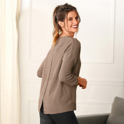 Pull boutonné dos Taupe: Vue 1