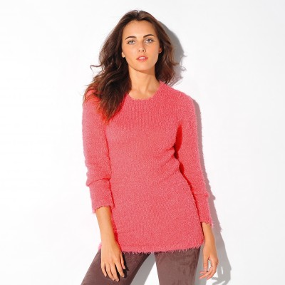 Pull col rond maille douceur Corail: Vue 1