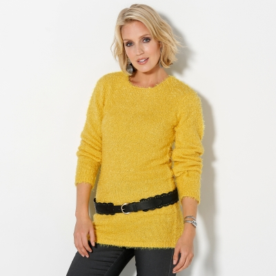 Pull col rond maille douceur Miel: Vue 1