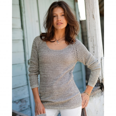 Pull maille anglaise chinée col V Taupe chiné: Vue 1