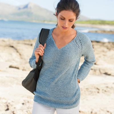 Pull maille anglaise chinée col V Bleu chiné: Vue 1