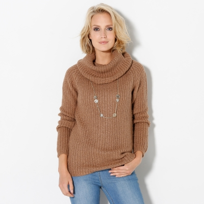 Pull col boule maille anglaise Noisette: Vue 1