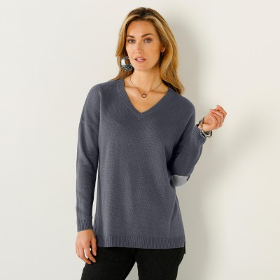 Pull col V uni Anthracite / gris chiné: Vue 1