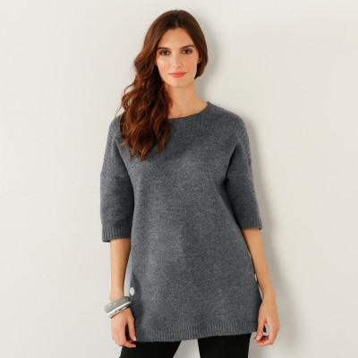 Pull poncho boutonné Anthracite: Vue 1