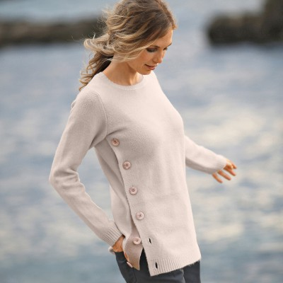 Pull boutonné col rond Beige: Vue 1