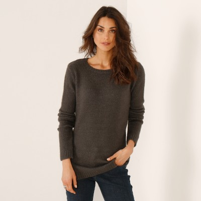 Pull boutonné col rond Anthracite: Vue 1