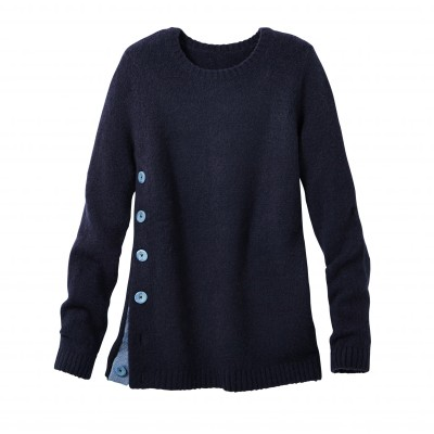 Pull boutonné col rond Marine: Vue 1