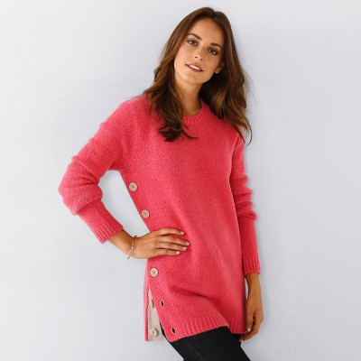 Pull boutonné col rond Rose: Vue 1