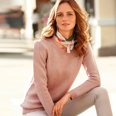 Pull chiné col rond 20% laine Rose chiné: Vue 1