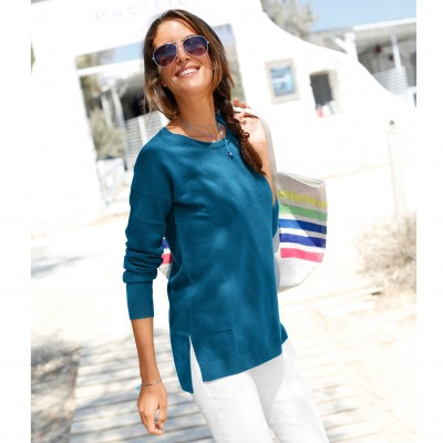 Pull col rond Turquoise: Vue 1