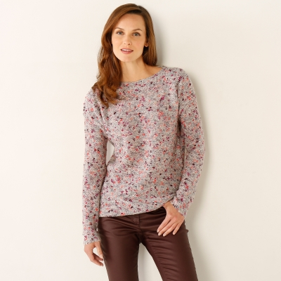 Pull chiné col rond Beige chiné: Vue 1