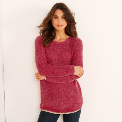 Pull col rond maille perlée Paprika: Vue 1