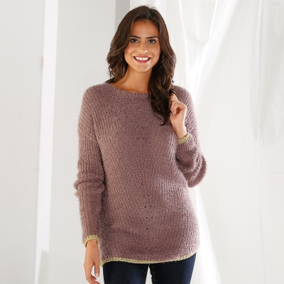 Pull col rond maille perlée Taupe: Vue 1