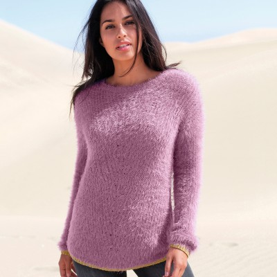 Pull col rond maille perlée Parme: Vue 1