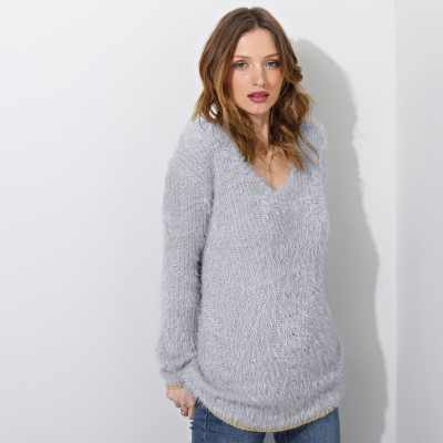 Pull col V maille perlée Gris perle: Vue 1