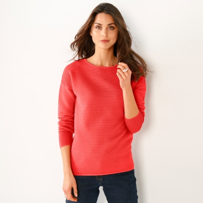 Pull maille reliéfée Orange: Vue 1