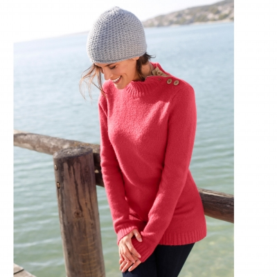 Pull col montant Rose: Vue 1