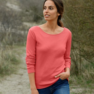 Tee-shirt col rond manches longues Rose corail: Vue 1