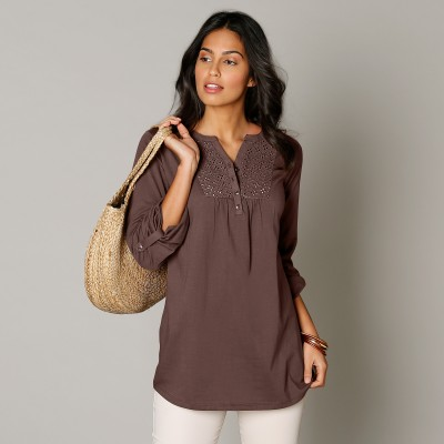 Tee-shirt manches longues brodé Taupe: Vue 1