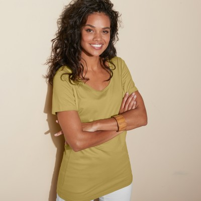 Tee-shirt col rond uni Olive: Vue 1
