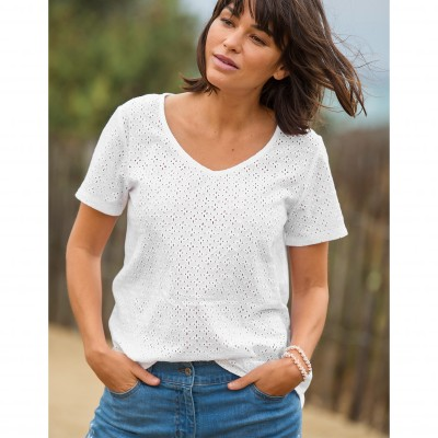 Tee-shirt col V broderie anglaise Blanc: Vue 1