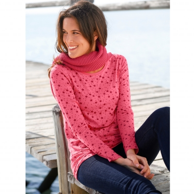 Tee-shirt imprimé viscose stretch Rose / cerise: Vue 1
